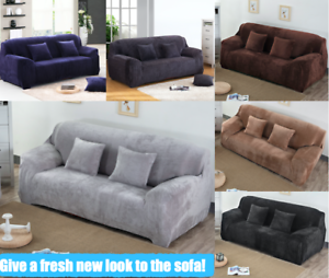 Details zu Stretch Fur Fabric 3 Seater Couch Protector Sofa SlipCover Pet  Lounge Cover