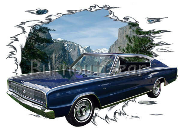 1966 Blau Dodge Charger Custom Hot Rod Mountain T-Shirt 66 Muscle Car Tees