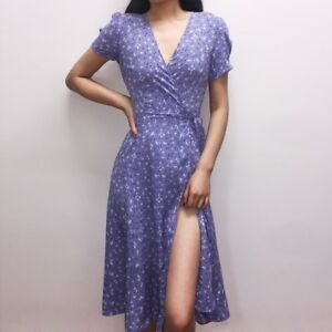 a8e8fb3f7df Image is loading Ladies-Beautiful-Floral-Print-Wrap-Dress-Slit-Womens-