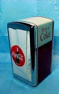 Coca-Cola-Have-A-Coke-Napkin-Dispenser-Metal-Chrome-50s-Diner-1992-VINTAGE-STYLE