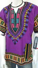 Hippie Boho Tribal African Dashiki Cotton T Shirt Kaftan Purple Mexican Poncho