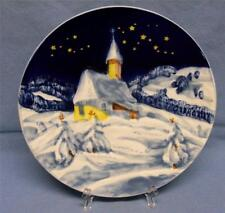 PEACEFUL CHRISTMAS SILENT NIGHT GERMANY RAISED HAND PAINTED WALL PLATE #4557 VNT