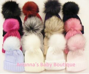New Kinder Boutique Knitted Large Ribbed Pull On Faux Fur Pom Pom ... d1a82a6d2c1