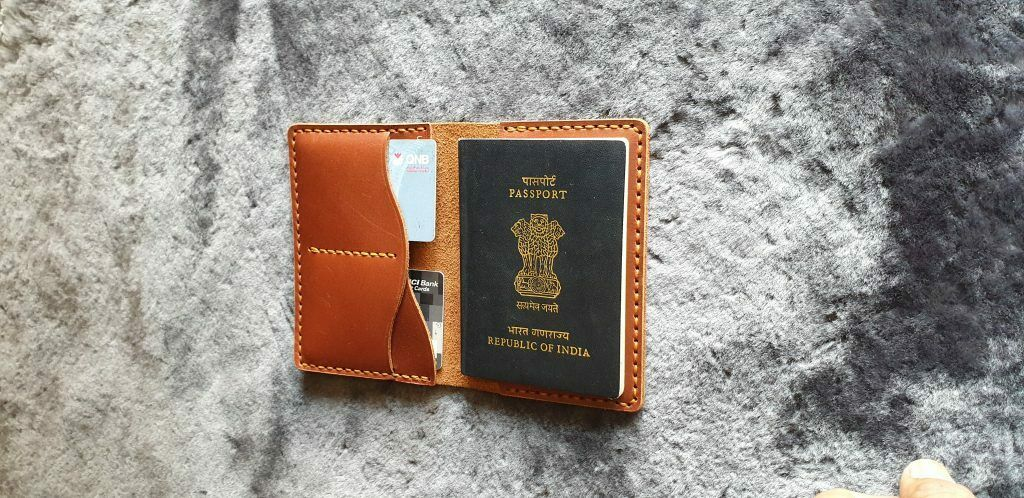 Brown Genuine Leather Handmade Passport Cover Indian Leather Craft