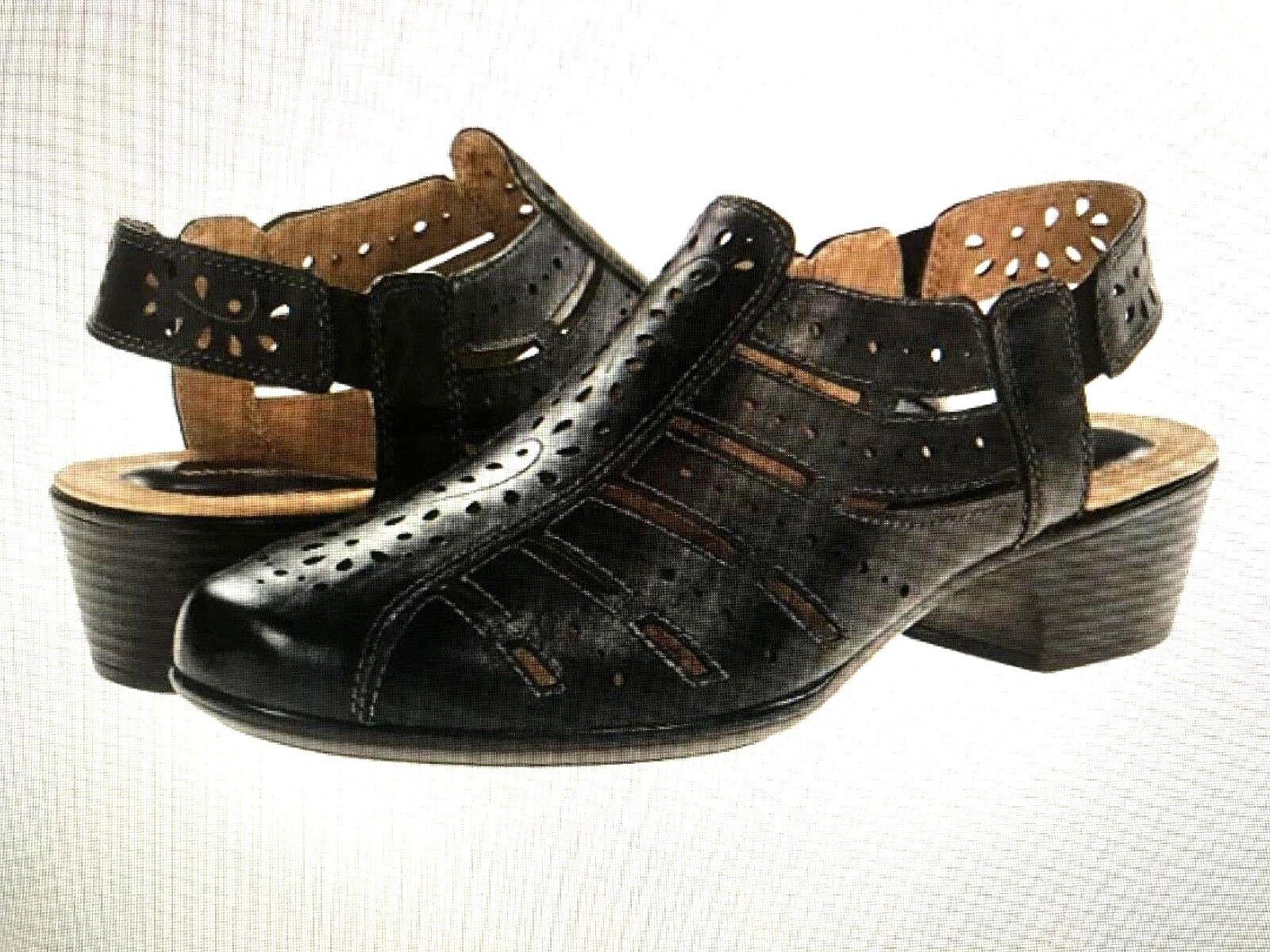 ROMIKA-'BARBADOS 06' Perforated Leather Sandals -noir  Sz. 5.5 M (36 EU)