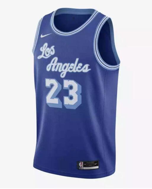Mens Nike NBA La Lakers Hardwood Classics Blue Jersey Lebron James ...
