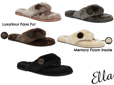 Ladies Ella Faux Fur Toe Post Memory
