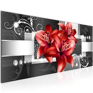 Bild-Bilder-Wandbild-XXL-100x40-cm-Lilien-Kunstdruck-Leinwand-aus-Vlies-Chic