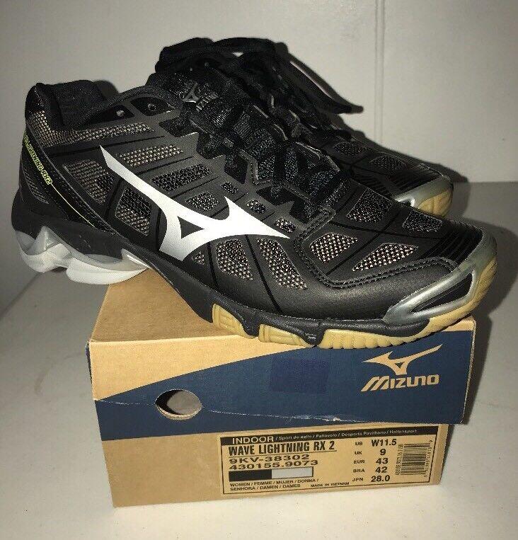 Mizuno Women/'s Wave Lightning RX2 Volleyball Shoe Silver//Black