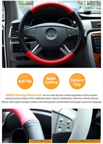 """IGGEE BLACK//BEIGE S.LEATHER PREMIUM HIGH QUALITY STEERING WHEEL COVER 15/"""""""