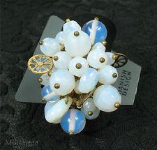 Vintage Danish PILGRIM Ring PRECIOUS MOMENTS White Opal Swarovski Gold BNWT