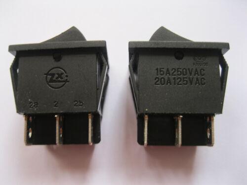 6 pcs Noir On//Off DPDT Rocker Switch KCD3 6 Terminal 250 V 15 A 125 V 20 A 6pin NEUF
