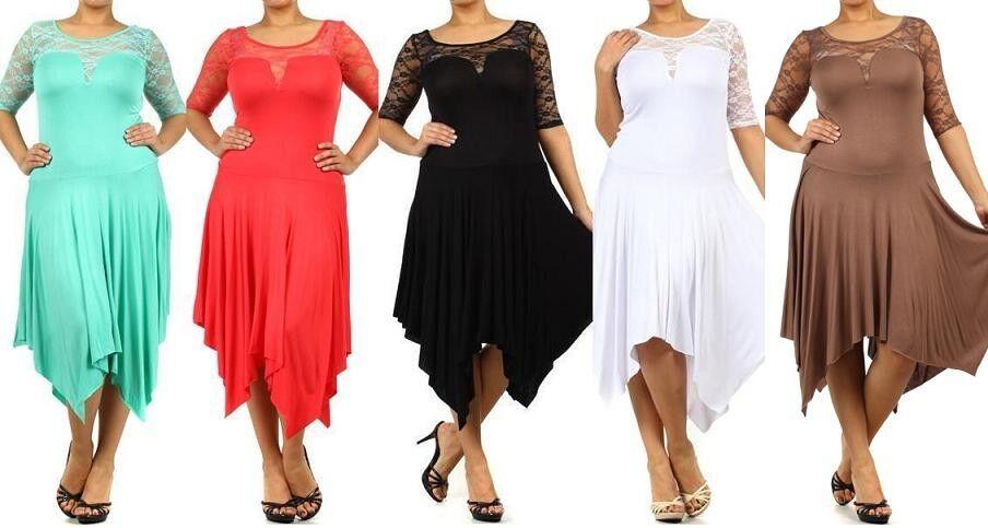 WOMEN PLUS SIZE DRESS 3/4 Sleeve Lace Asymmetrical Hem Maxi ...