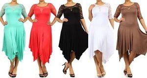 WOMEN PLUS SIZE DRESS 3/4 Sleeve Lace Asymmetrical Hem Sexy Maxi ...