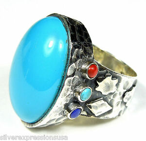 Genuine-American-Sleeping-Beauty-Turquoise-925-Sterling-Silver-Ring-size-7-8