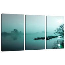 Set di 3 Teal immagini Canvas Wall Art paesaggi CAMERA DA LETTO STAMPA 3118