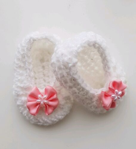 Baby Girls Crochet Shoes White with Pink Bows Handmade 0//3 mths
