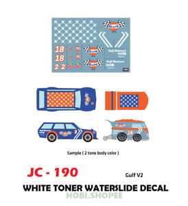 Jc 9190 White Toner Waterslide Decals Gulf V2 For Custom 1 64 Hot Wheels Ebay