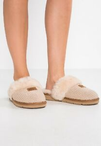 197e55baeb0 NEW UGG Brand Womens Fluffy Cozy Knit Slippers Shoes 1095116 Cream ...