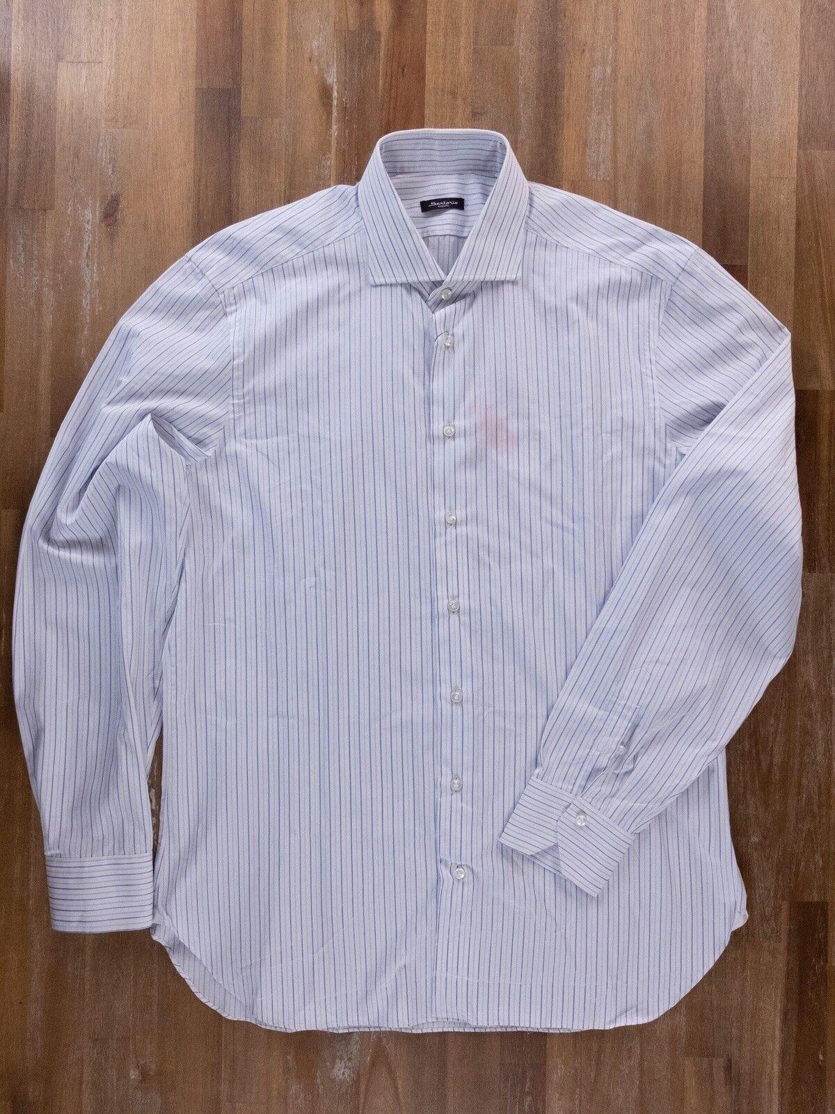 SARTORIO KITON striped cotton dress shirt authentic - Size 43   17 - NWOT