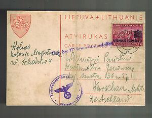 1939 Vilnius Litauen zu Warschau Polen Zensiert in Konisgberg