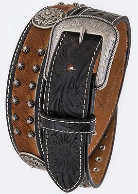 Men/'s Basket Weave Tooled Leather Belt Heavy Duty Western Rhinestones Concho Gun