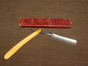 VINTAGE BARBER SHAVING  J H FROST NEW-HAVEN STRAIGHT RAZOR in DONAVAN BOX
