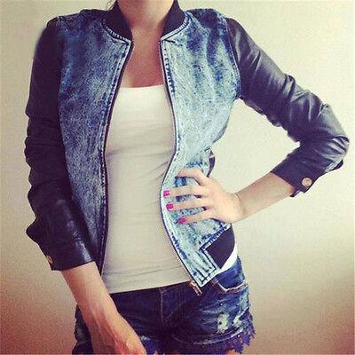 Women Retro Fashion Casual Blue Jean Denim Long Sleeve Shirt Tops Blouse Jacket