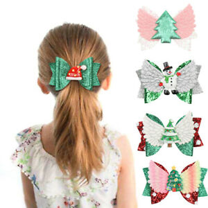 Christmas-Kids-Girls-Glitter-Bow-Hairpin-Tree-Santa-Barrettes-Hair-Clip-Gift