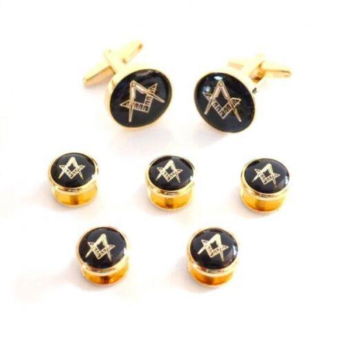 Negro y Oro Esmaltada Masónico Gemelos /& 5 botón Stud Set X2AJ318A