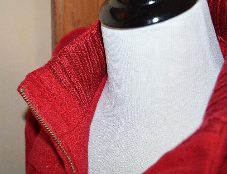 NWOT ISAAC MIZRAHI LIVE  HOODED ZIP FRONT MELTON MELTON MELTON PARKA COAT RED SMALL 77b5de