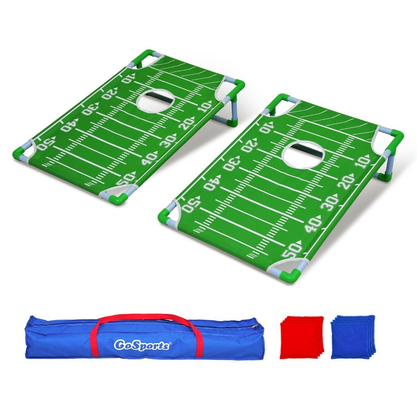 GoSports Portable PVC Frame Football Cornhole Game Set with 8 Bean Bags and Case