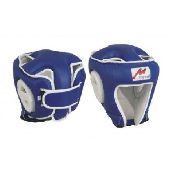 Cuir Boxe Ultimate Tête Protège Protège Protège Ouvert au Niveau Du Visage Bleu Casque Kick Mma cae1e0