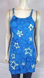 Bali-Girl-Blue-Green-White-Cover-Beach-Tunic-Top-Dress-Womens-Size-Small