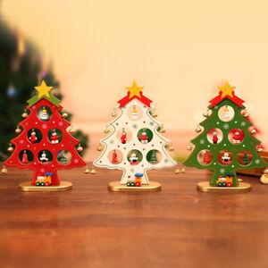Mini-albero-di-Natale-in-legno-Decor-tavolo-da-tavolo-regalo-ornamento-fai-da-te