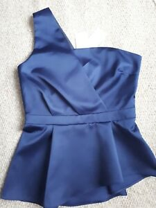 eaa1bc5aa11932 Image is loading NEW-NEXT-Navy-Blue-Satin-One-Shoulder-Peplum-