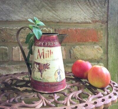 Vintage Milchkanne mit Kuh Blechkanne als Gartendeko Landhaus Blumenvase