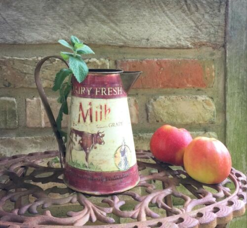 Milchkanne mit Kuh Vintage Blechkanne als Gartendeko Landhaus Blumenvase