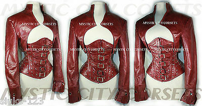 NEW BURGUNDY LEATHER BOLERO JACKET FOR CORSET STEAMPUNK MYSTIC CITY SMLXL 2X 3X