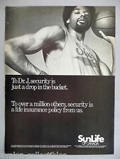 Julius Erving - Dr. J for SunLife Insurance PRINT AD - 1978 ~ Sun Life Assurance