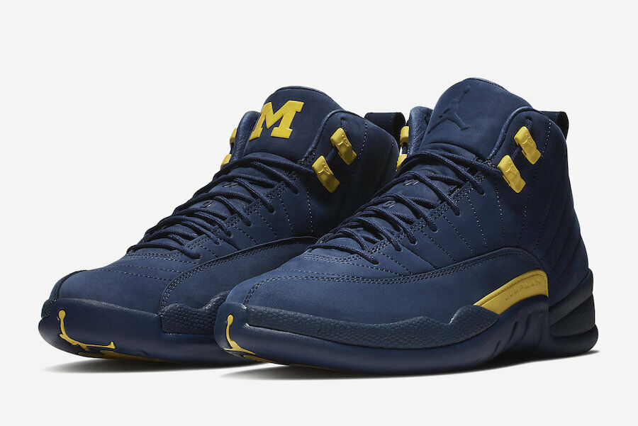 2018 nike air jordan 12 retrò xii michigan sz college della marina bq3180-407