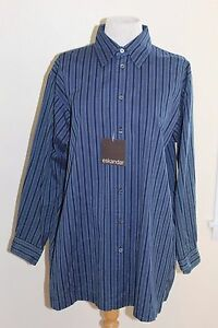 c5fea19e7 NWT Eskandar Navy Striped Cotton Luxury Button Down Tunic Shirt Top ...