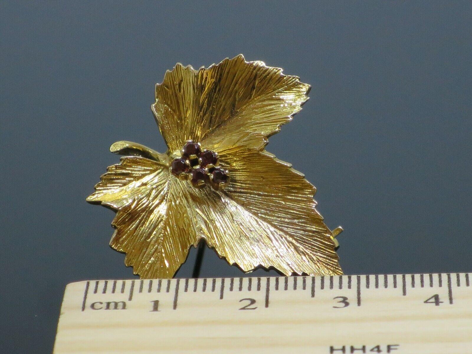 "Vintage ""Sycamore Leaf"" 0.15CTW Garnet 9K Yellow … - image 9"