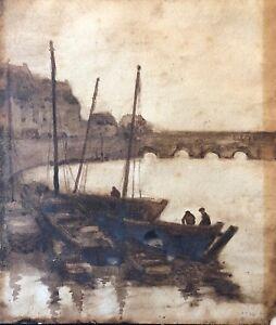 Port-de-Bretagne-lavis-d-039-encre-signe-illisible-1922