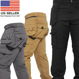 Mens-Work-Trousers-Removable-Holster-Pocket-Heavy-Duty-Cargo-Combat-Utility-Pant
