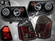 05-07 CHRYSLER 300C BLACK PROJECTOR HEADLIGHTS CCFL HALO & TAIL LIGHTS SMOKE LED