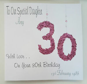 Large Personalised 30th Daughter Birthday Card ANY AGE ANY PERSON