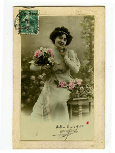 c 1910 Glamour SLIM FRENCH LADY tinted photo postcard