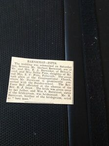 A1-2-Ephemera-1925-Wedding-Falmouth-Herbert-Barnicoat-Briton-039-s-Yard-Nellie-Pitts