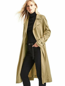 NWT-GAP-XS-Khaki-Tencel-Open-Front-Trench-Coat